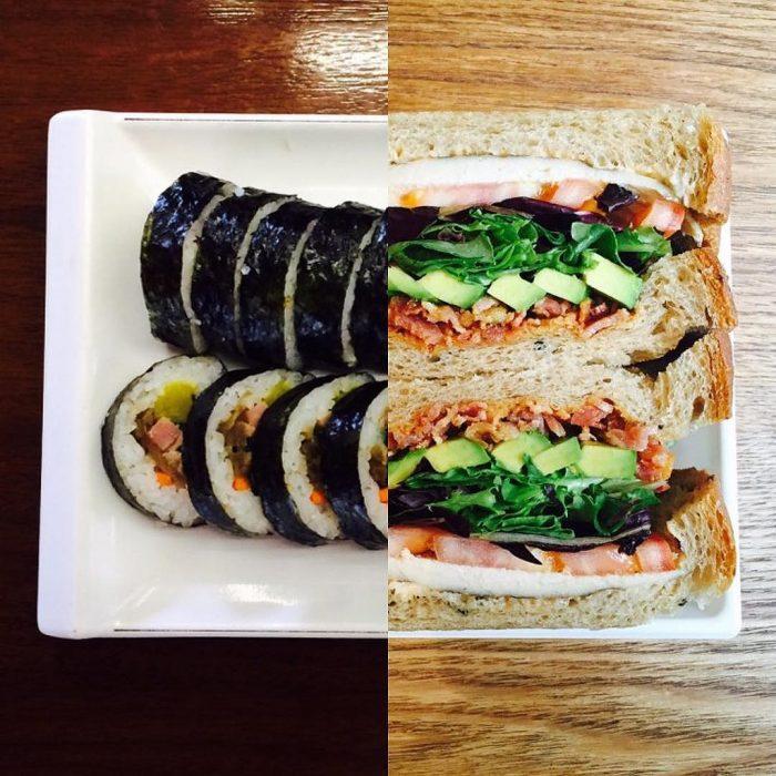 Plato de comida mitad y mitad