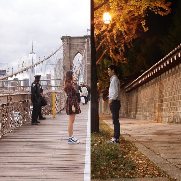 Pareja en puente mitad y mitad