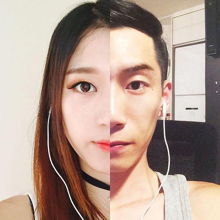 Cara mitad y mitad