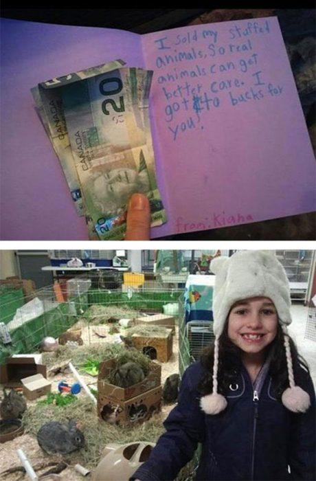 Niña que donó su dinero para el refugio de animales