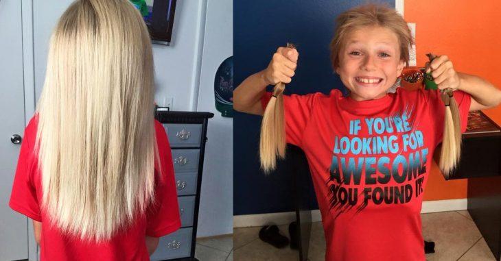 Niño se dejo crecer el cabello para donarlo a las personas con cáncer