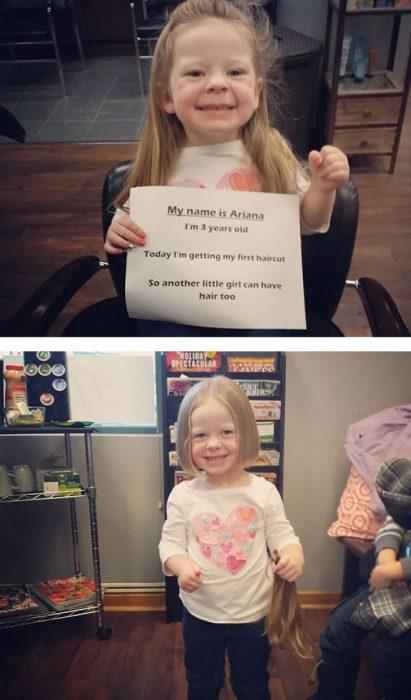 Niña de tres años que donó su cabello para los niños con cáncer