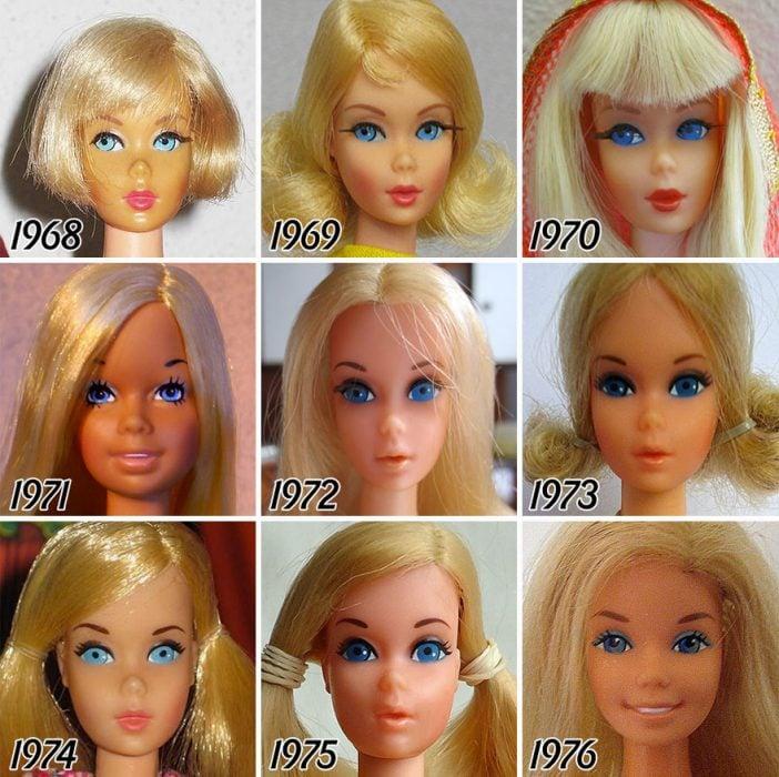 evolución de Barbie de 1968 a 1976