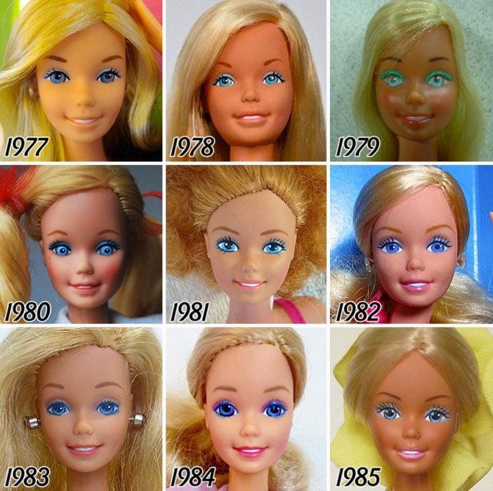 evolución de Barbie de 1977 a 1985