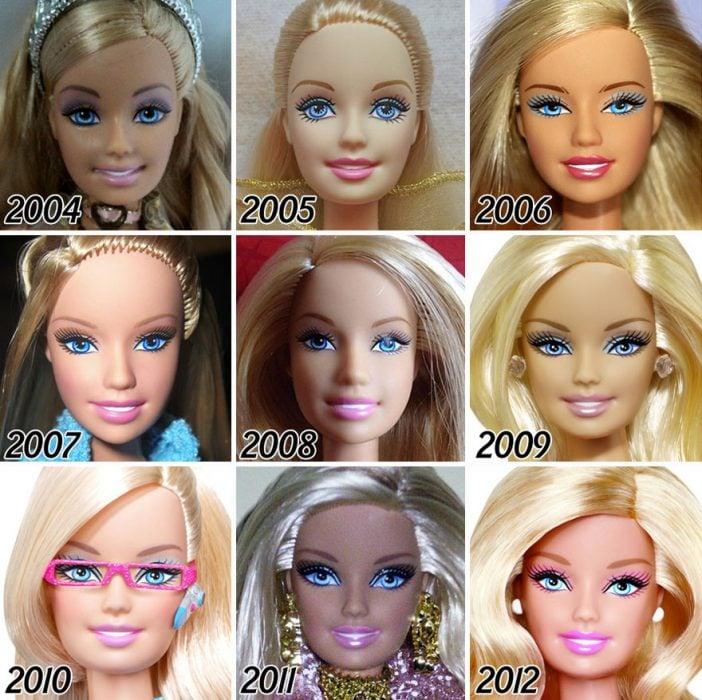 La evolución de Barbie de 2004 a 2012