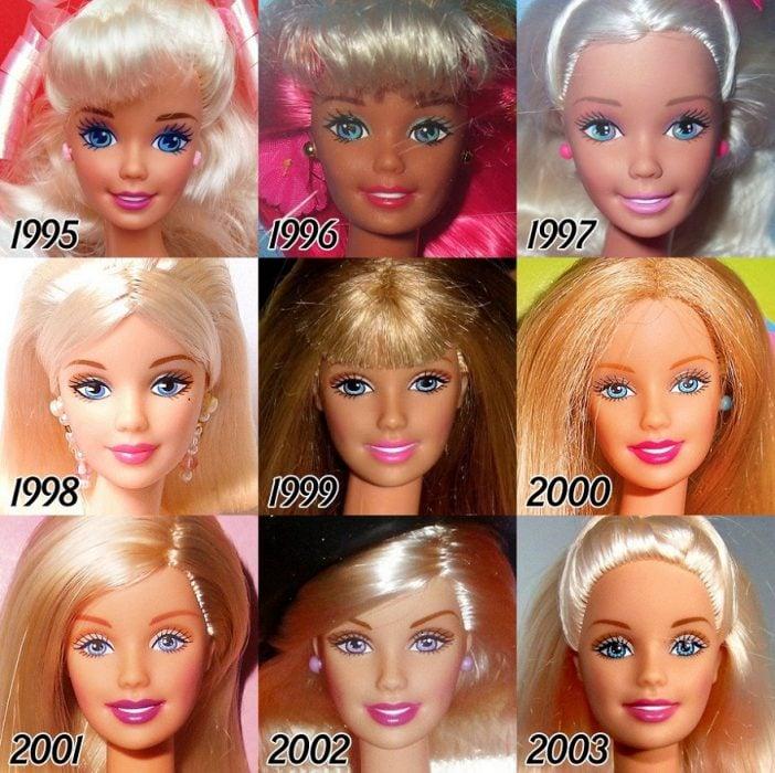 La evolución de Barbie 1995 a 2003