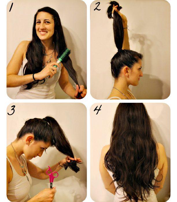 Chica cortando las puntas de su cabello