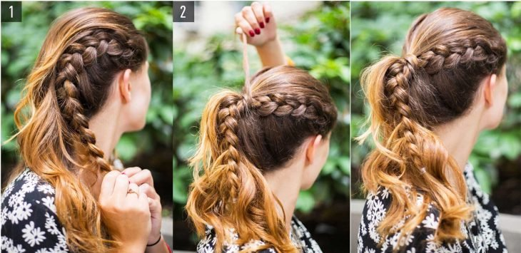 Chica mostrando paso a paso como hacer una cola de caballo con una trenza a un lado