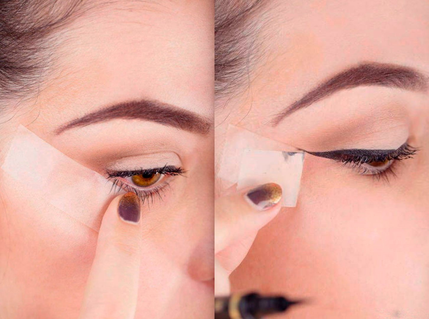 para lograr un delineado ucat eyeu perfecto puedes usar una tarjeta o una cinta adhesiva como gua
