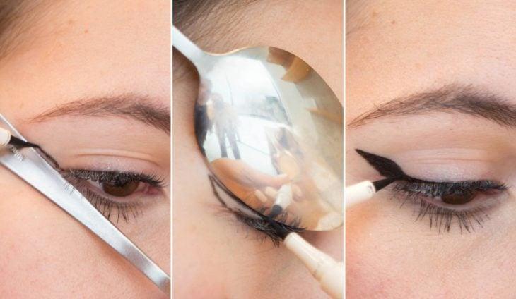 Chica delineando sus ojos con una cuchara