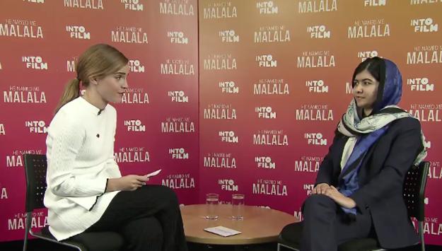 Emma Watson entrevistando a malala en el festival de cine yesterday