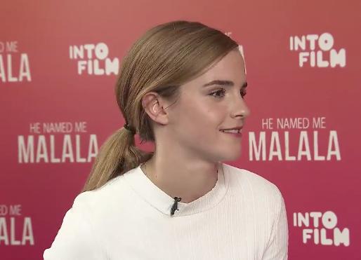 Emma watson durante la entrevista con malala