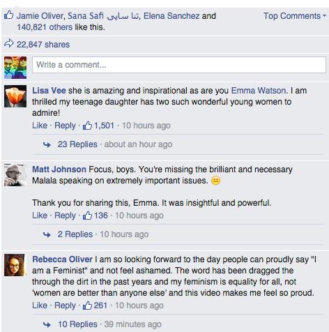 Comentarios en la página de facebook de Emma Watson