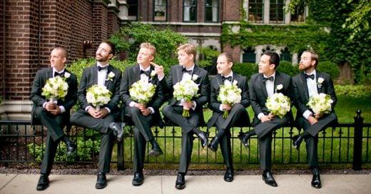 ideas de poses creativas para los padrinos en una boda