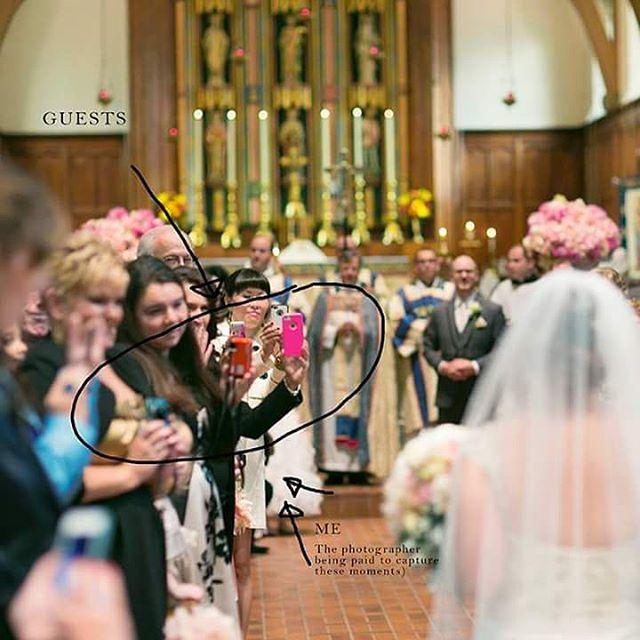 Invitados tapando la vista del fotógrafo mientras observan a la novia