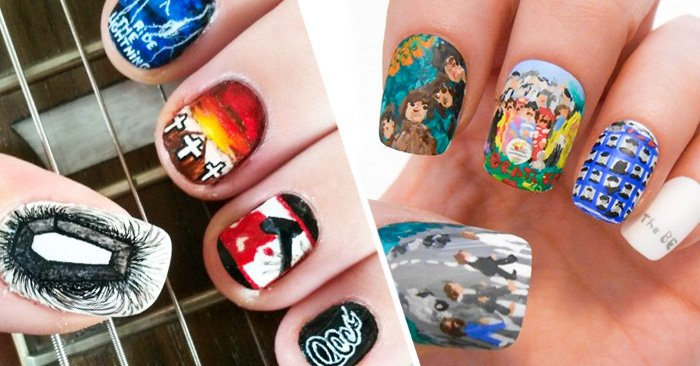 diseños para uñas muy creativos inspirados en la música