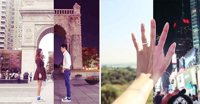 pareja a larga distancia ha encontrado la manera de mantenerse cerca a través de fotografías