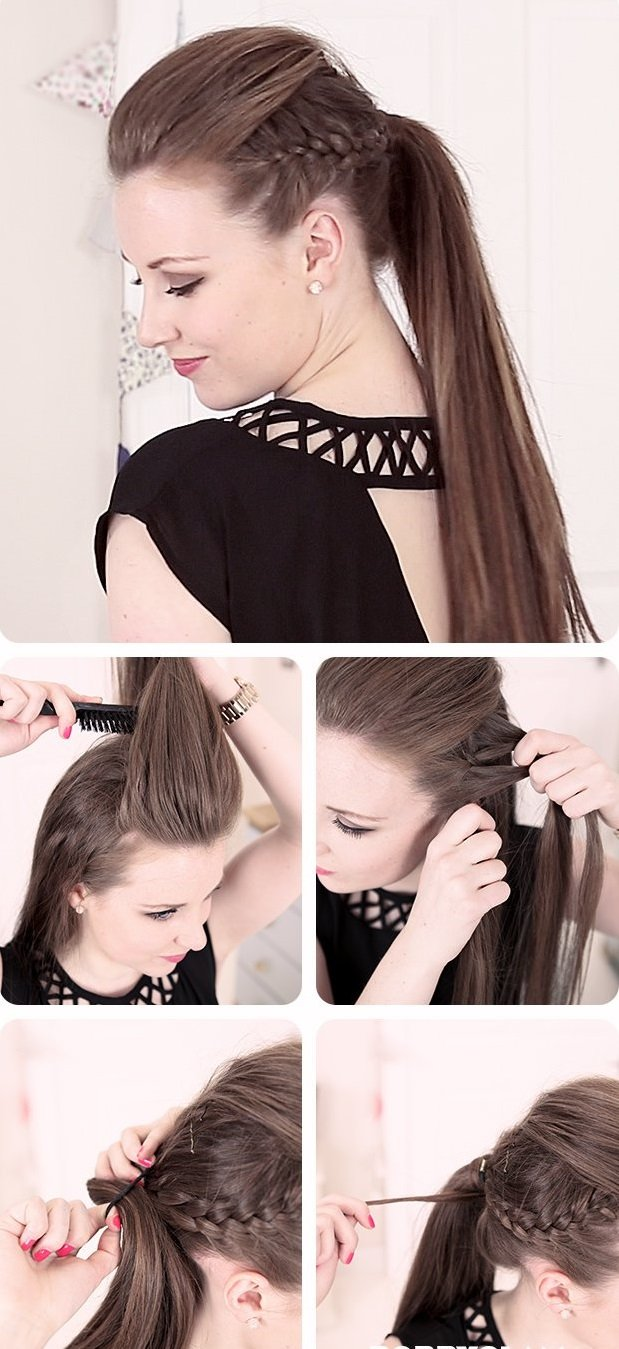 Diferentes versiones peinados con cola alta Fotos de tendencias de color de pelo - Peinados con cola alta con trenza - Cortes de pelo con ...