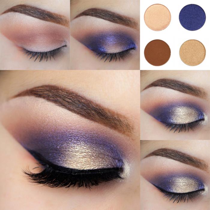 Maquillaje para ojos de color azul con dorado y negro