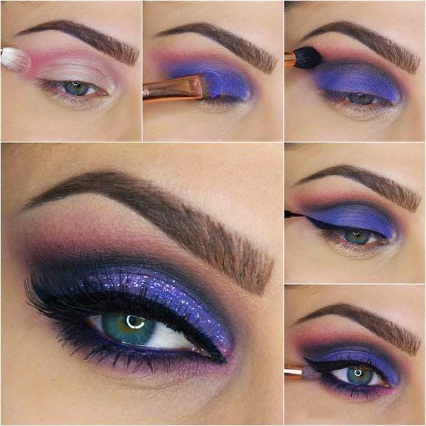 maquillaje para ojos de color morado con negro