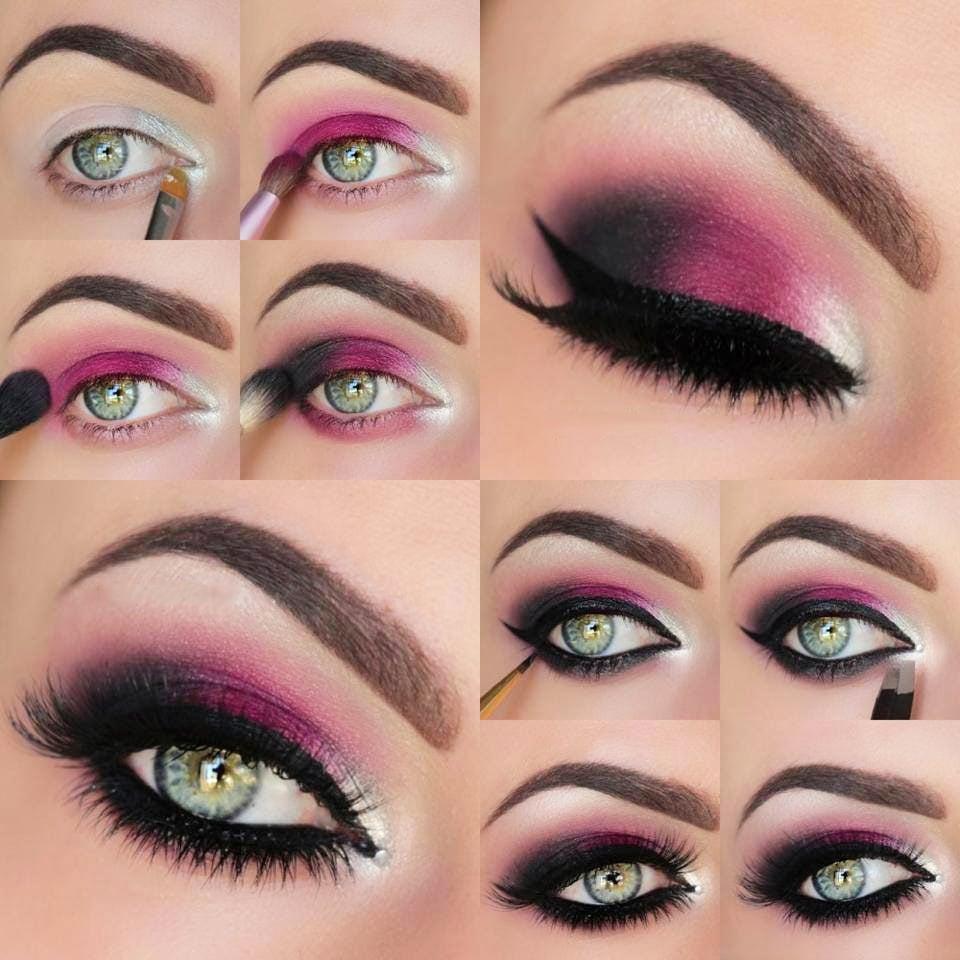 Maquillaje paso a paso como combinar maquillaje de ojo y el color - Mauillaje Para Ojos De Color Rosa Con Negro