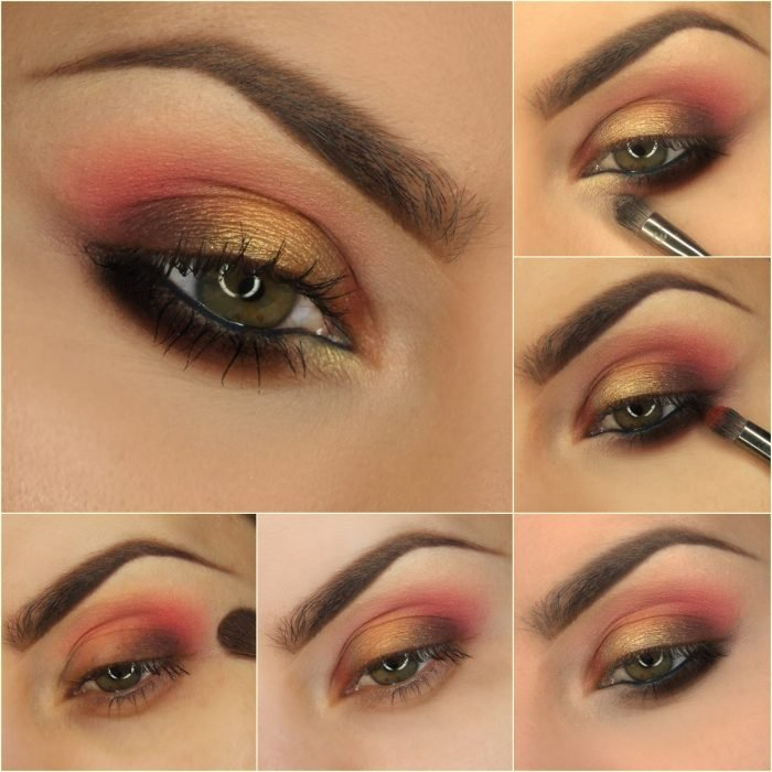 maquillaje para ojos de color rsoa con dorado y negro