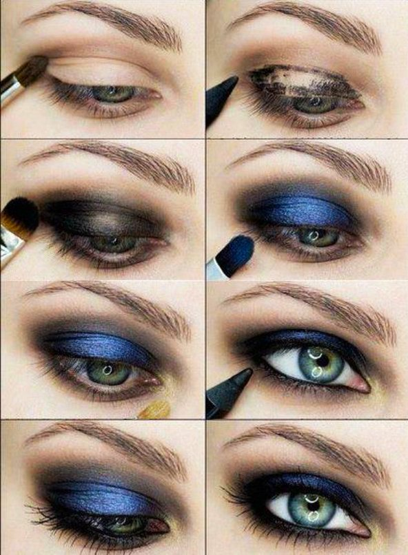 Smokey eyes con color azul al centro. tutorial de maquillaje para ojos