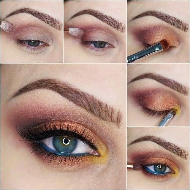 Maquillaje para ojos de color dorado y café