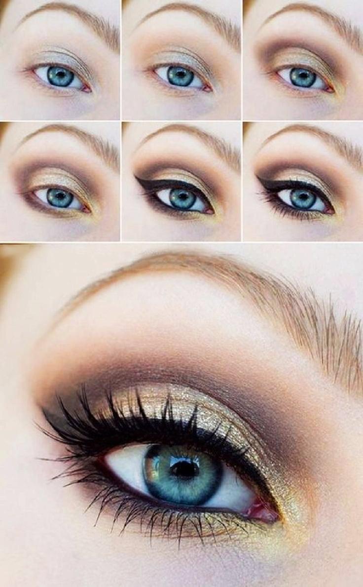 tutorial de maquillaje para ojos en color dorado con negro y caf