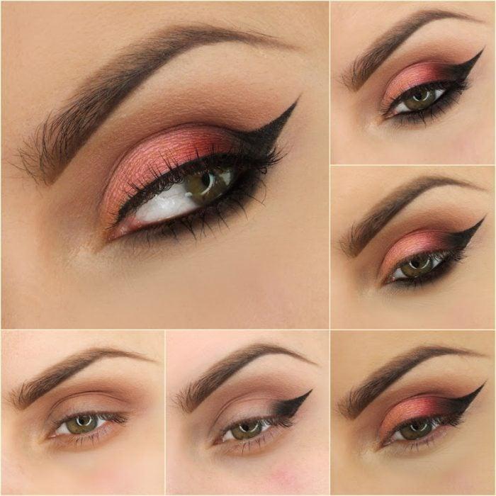 Maquillaje para ojos de color rosa con negro y color melón