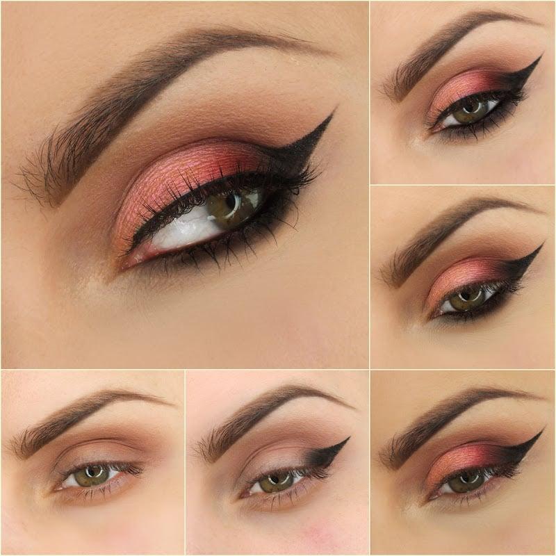 maquillaje para ojos de color rosa con negro y color meln