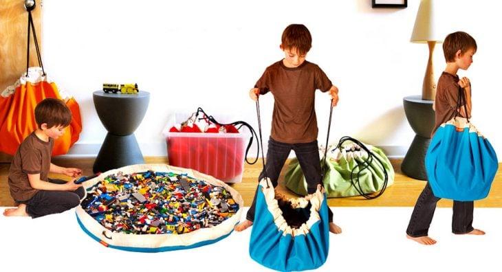 bolsa tapete para para juguetes