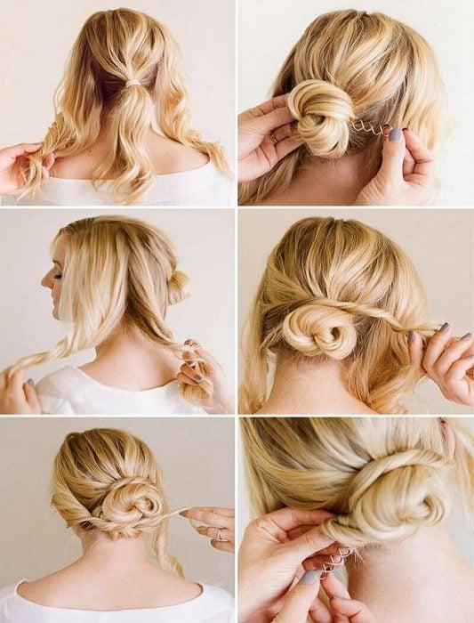 peinado con cabello enrollado recogido