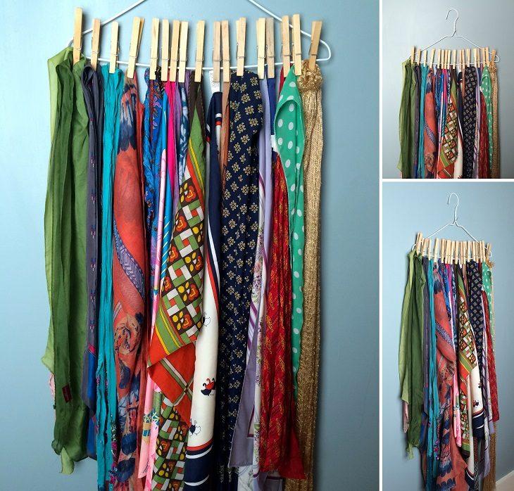 bufandas colgadas en pinzas de madera