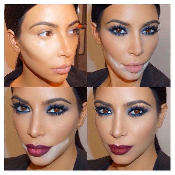 Kim kardashian con el rostro contorneado
