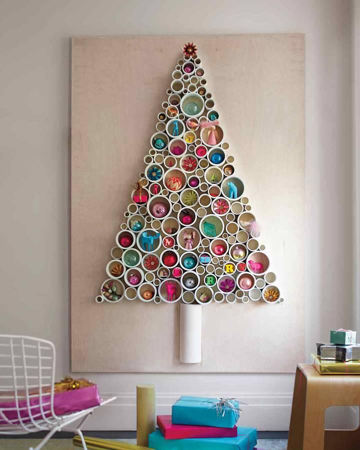 rbol de madera con tubos de pvc - Arbol De Navidad De Madera