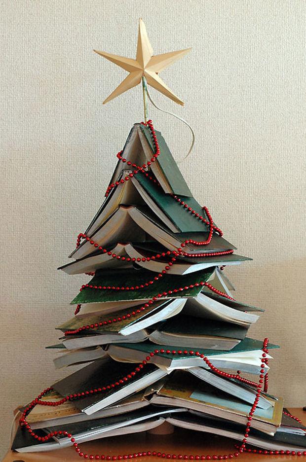 rbol de navidad con libros - Arboles Navidad Originales