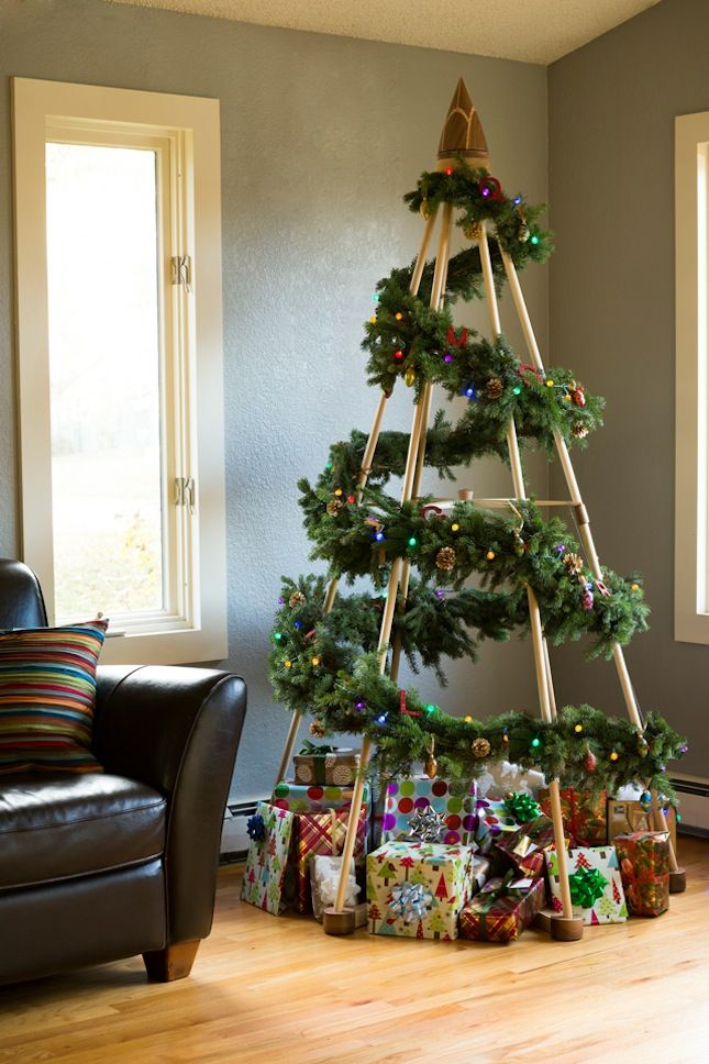 25 rboles de navidad creativos y originales hechos por ti Arbol navidad madera