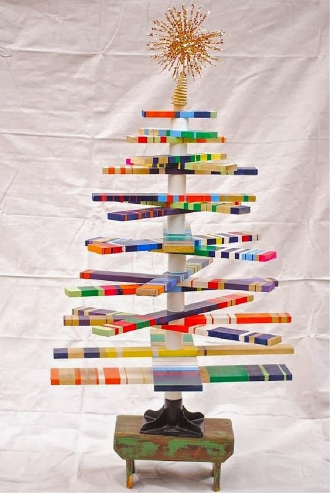 rbol de navidad de madera de colores