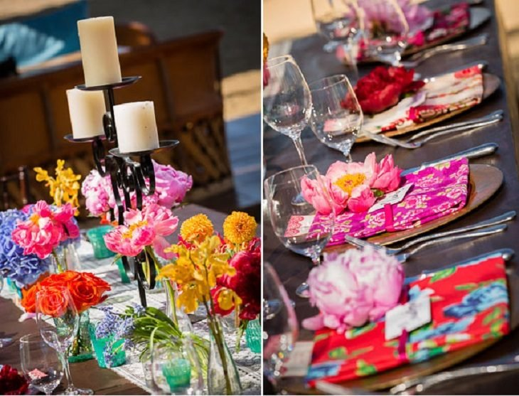 detalles de de coración de colores para boda