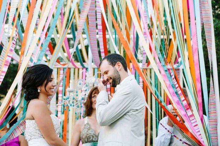 listones en el techo decoración de boda