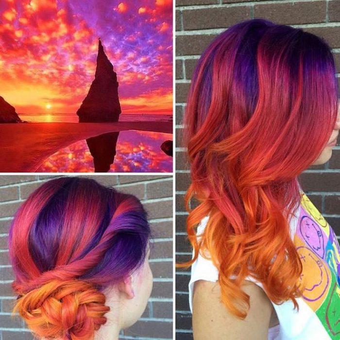 Chica con el cabello teñido con la tendencia sunset hair