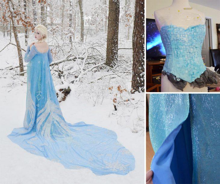 Chica usando un traje de Elsa de la película Frozen
