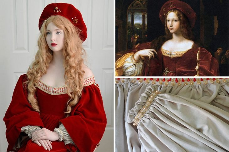 Chica usando un vestido medieval de color rojo al igual que un cuadro