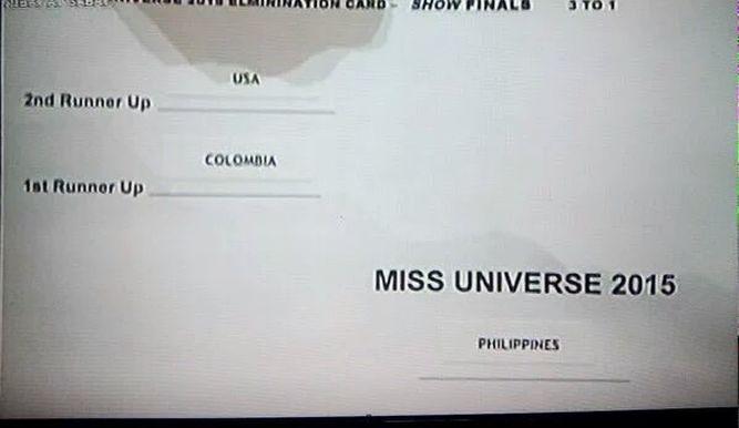 tarjeta miss universo 2015