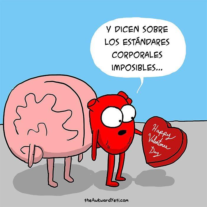 Este cómic muestra la batalla entre el cerebro y el corazón
