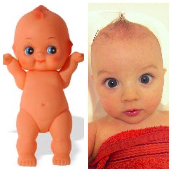 cosas que se parecen a otras, bebé que es igual a un muñeco