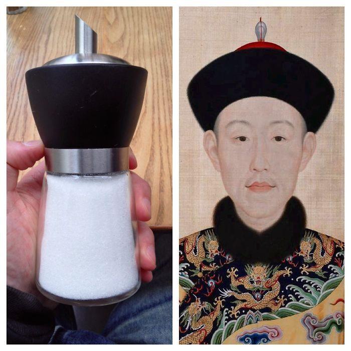 cosas que se parecen a otras, salero que es igual a un emperador chino