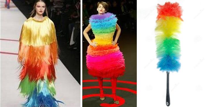 cosas que se parecen a otras, mujer que esta vestida como un sacudidor de polvo