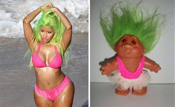 cosas que se parecen a otras, nikie minaj igual a un troll